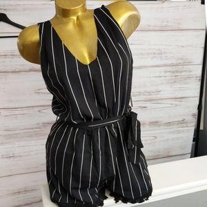 NWT Aqua Black White Striped Lace Trim Romper